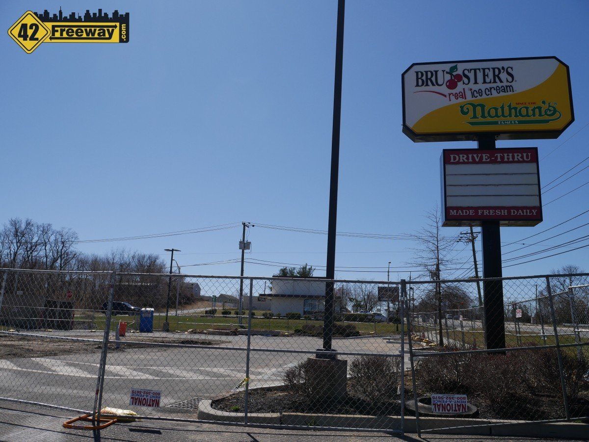 Woodbury Heights: Construction Fencing at Former Bruster's.  Starbucks is Still Our Belief