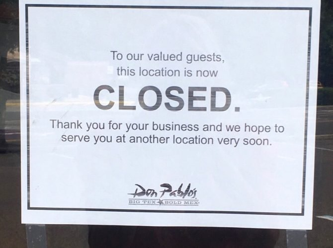 Don Pablo's Deptford Closed Abruptly Sunday Night.  No Details