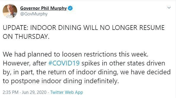 NJ Indoor Dining Has Been Postponed by Governor Murphy.  No New Date Set.  Cites the Spikes of Cases in Other States