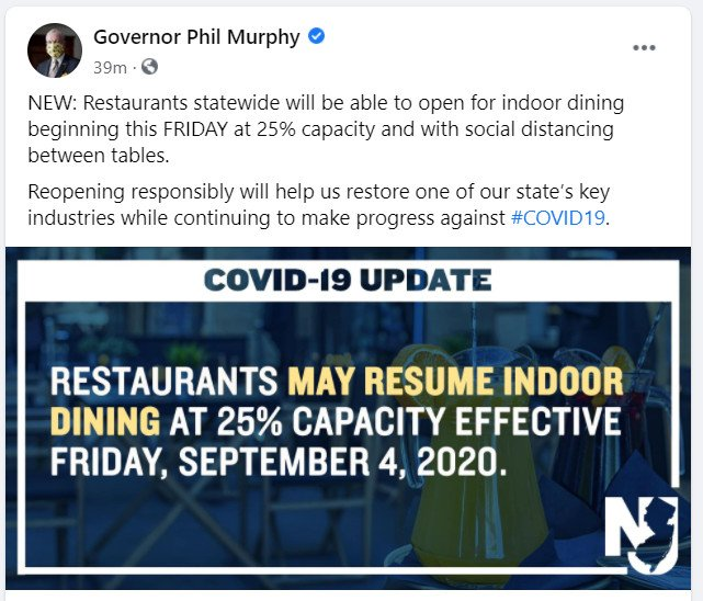 New Jersey Indoor Dining APPROVED!  Starting Friday September 4th.  25% Capacity!