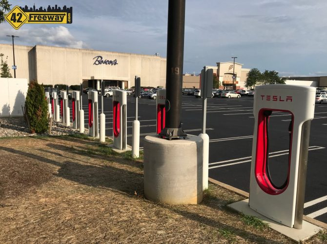 Deptford Mall Tesla Car Superchargers Are Finally Operational