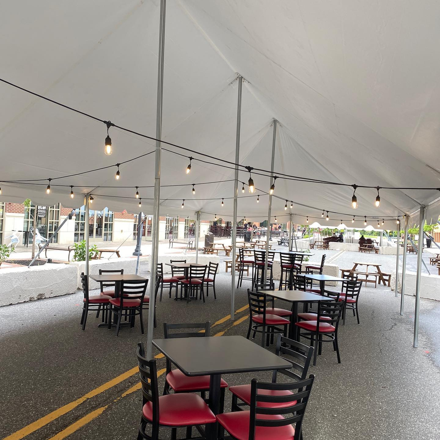 Glassboro's Rowan Blvd Has Large Dining Tents Filling the Streets and is Closed to Traffic.  Friday Aug 21 is Summer Fest!