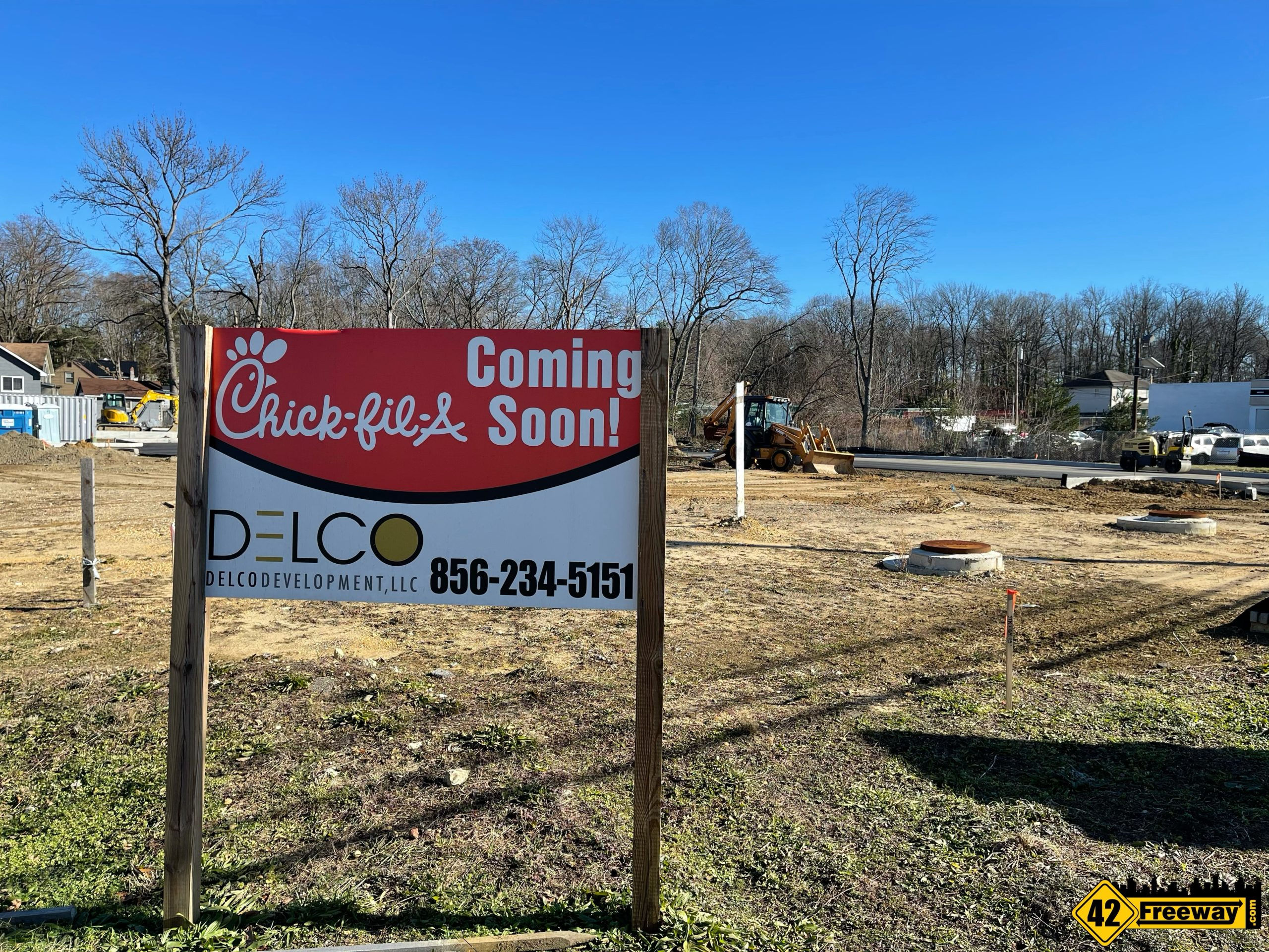 Chick-fil-A Barrington Construction Starts Again.  Asphalt and Curbing in Place
