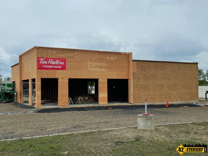 Tim Hortons Building Frame is UP in Stratford.  Timmies Really is Coming!